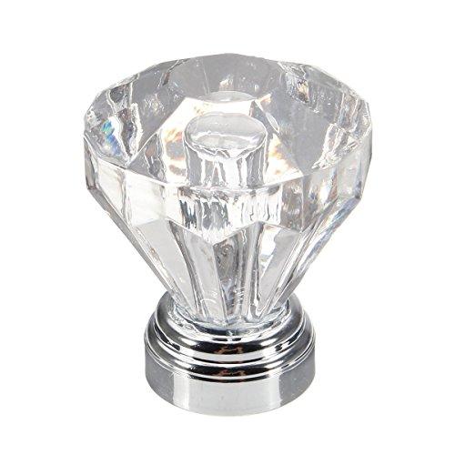 RanDal 4Pcs 25Mm Diamond Clear Crystal Glass Door Knobs Schub-Kabinett Panboard Pull Handle
