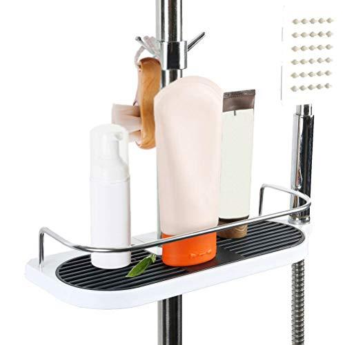 Badezimmer-Duschregal, Hänge-Duschregal, Aluminium, Duschregal, Organizer mit 2 Haken, Ständer für Seife, Shampoo, ohne Bohren an der Wand montiert, 19 mm – 25 mm Stange