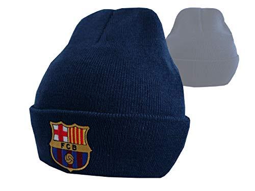 Gorro de punto con escudo F.C. Barcelona. Producto oficial. Ideal como regalo, hombre, azul, One Size (adult / youth)