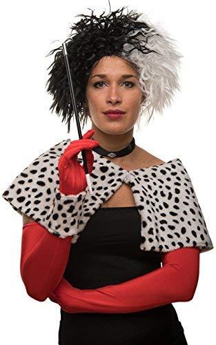 Cruella Perücke schwarz / weiß für Karneval / Fasching