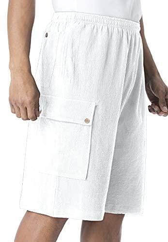 KingSize KS Island Men's Big & Tall Full Elastic Waist Gauze Cargo Shorts - Big - 3XL, White
