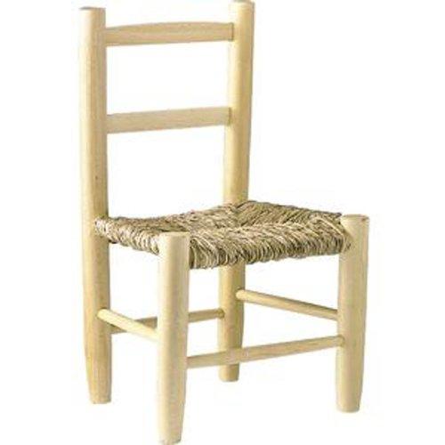 Sedia bambino in faggio naturale sbiancato con sedile Roseau, Dim: 30x 26x 49cm–pegane-