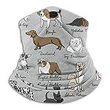 Calentador de Cuello Bulldog Corgi Amante de Perros Cuello Polaina Tubo Calentador de Oreja Diadema Bufanda Pasamontañas Negro