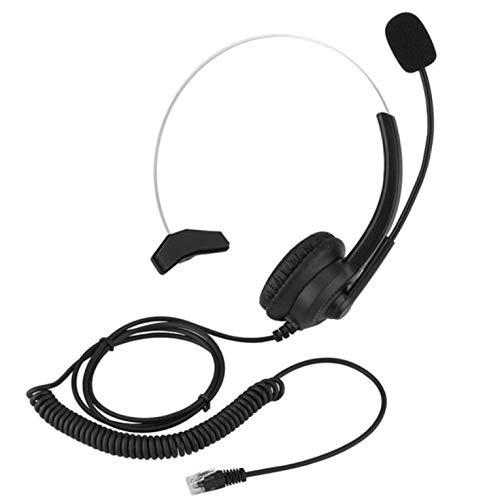 QiKun-Home 300 Crystal Headphone Call Center Auriculares con Ruido con micrófono Volumen Ajustable Auriculares de tráfico con cancelación de Ruido Llamada Negro
