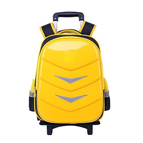 YUTCRE Trolley Scuola Zaino Trolley Rotolante Ragazzi Alunno Scuola Rolling Ragazza zaino su Ruote Alta Capacità Zaino da Viaggio per Elementare Adolescente (Color : Yellow, Size : 43 * 30 * 18cm)