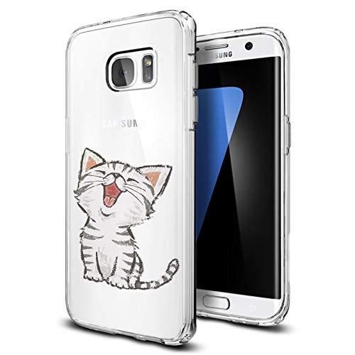 Preisvergleich Produktbild Conie® Handyhülle Rück Schale für Samsung Galaxy S7,  Ultra Slim TPU Hülle aus Silikon mit Bilder Motiv,  Kanten Display Kamera Schutz,  Motiv Katze Design