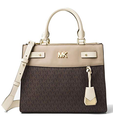 The Reagan satchel is designed in a mix of Light Cream Smooth Leather and Brown MK Signature Logo Print with elegant clean lines and Gold Tone hardware Exterior Details: Back Zip Compartment, Front Slip Compartment Interior Details: Back Zip Pocket, ...