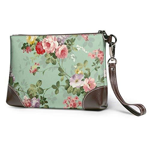 Monederos embrague teléfono carteras vintage floral flores patrón cuero pequeño monederos bolso