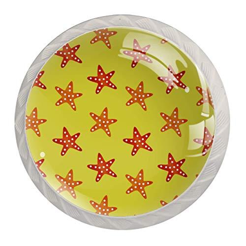 Perillas de gabinete de cocina Perillas decorativas redondas Gabinete Cajones de armario Tirador de tocador 4PCS Verano Estrella de mar Amarillo