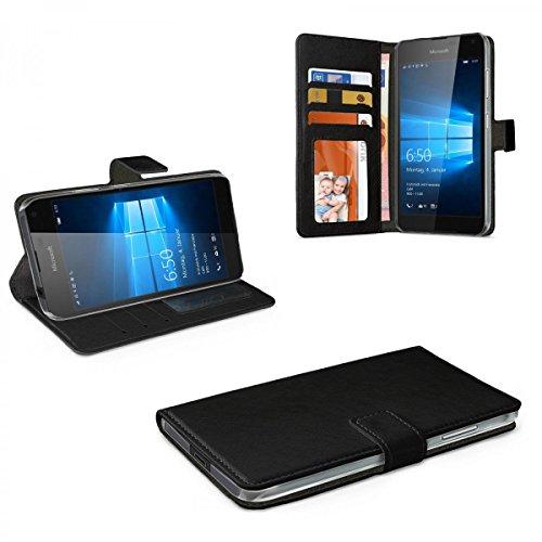 eFabrik Hülle für Microsoft Lumia 650 Tasche Hülle Cover Schutzhülle Schutztasche Leder-Optik schwarz