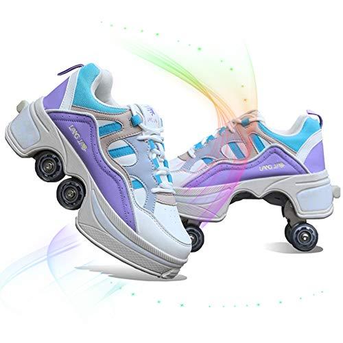 DLBJ Patín De Ruedas De Deformación 2 En 1 Patines De Polea Extraíbles Zapatos De Patinaje Zapatos para Caminar Automáticos Zapatos