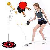Entrenador de Tenis de Mesa de Rebote con Elástico Eje Suave, Equipo de Entrenamiento Kit 3 Elastic Rod 2 Postes de Ajuste, para Adultos Niños Deportes de Descompresión