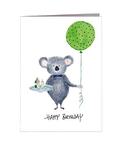Kartka urodzinowa Happy Birthday Koala – ręczne wykonanie w Hamburgu – 100% papier z recyklingu – kartka z życzeniami urodzinowymi z kopertą