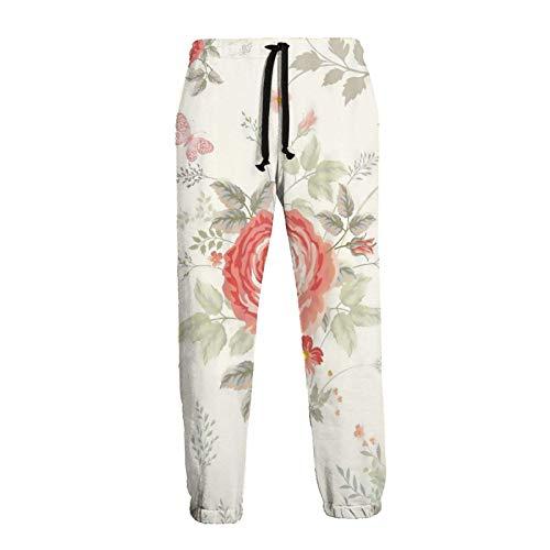 Lewiuzr Pantalones de chándal atléticos de Flores para Hombre Pantalones de chándal de Lana de Moda con cordón y Bolsillos