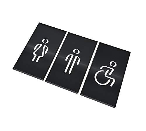 DOJA Barcelona | Targhetta Bagno Nera | Donna + Uomo + Disabili | Colore: Nero | Diametro: 180x100mm | Design Moderno | Cartelli Adesivi per Porta WC | Uso: Ristoranti, Ufficio, Hotel