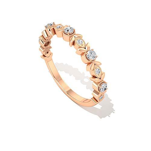 Anillo vintage de diamantes con certificado SGL, diseño floral, de 0,19 quilates, grabado en oro, medio anillo de eternidad, cuentas de milgrain, 14K Oro rosa, Size:EU 70