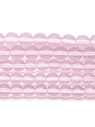 Cuentas de piedra natural redondas lisas y sueltas de piedra de cristal rosa de 4 a 12 mm para hacer joyas DIY encanto pulsera collar hecho a mano rosa 8 mm aprox. 46 cuentas
