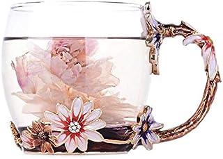 Enamel Daisy Crystal Glass Mug Coffee Cup Herbal Tea Cups