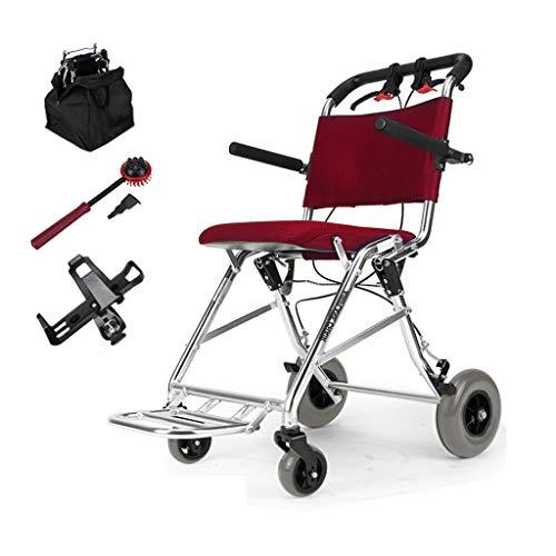 silla de ruedas Plegable Ultraligera de 7,4 kg con frenado Auxiliar Silla de Viaje de tránsito portátil para usuarios Mayores, discapacitados y discapacitados en una Bolsa
