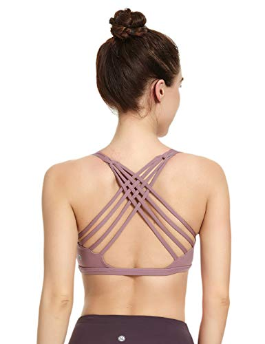QUEENIEKE Womens Yoga Sport Bra Light Support Strappy Free to Be Bra Size S Color Dusty Lavender