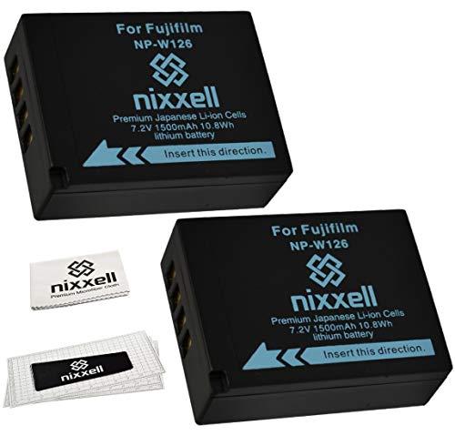 (2Pack) WT Nixxell Battery for Fujifilm NP-W126 BC-W126 and Fuji FinePix HS30EXR, HS33EXR, HS35EXR, HS50EXR, X-A1, X-E1, X-E2, X-M1, X-Pro1, X-T1 (Fully Decoded)