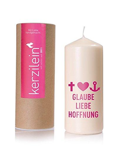 Kerzilein Flamme, pink, GLAUBE LIEBE HOFFNUNG T