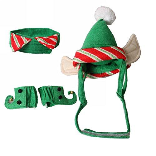 ZTL 4pcs/Set Dog Cat Christmas Costume Accessories Hat & Neck Wear & Leg Sleeve Party Cosplay Pet Supplies