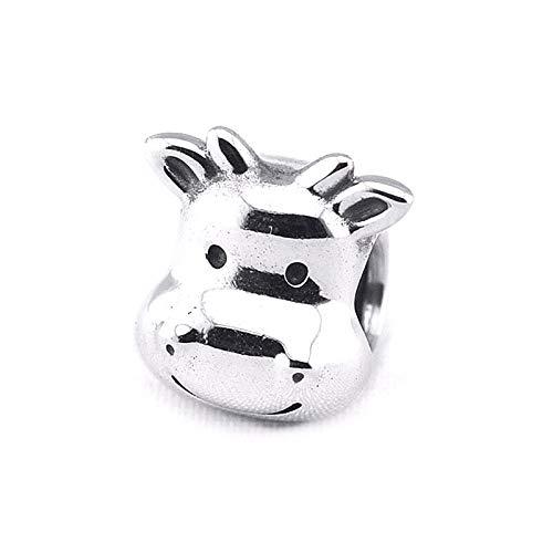 LISHOU Mujer Pandora S925 Plata Esterlina Linda Vaca Animal Charms Bead Fashion Girl Pulsera Collares Fabricación De Joyas DIY