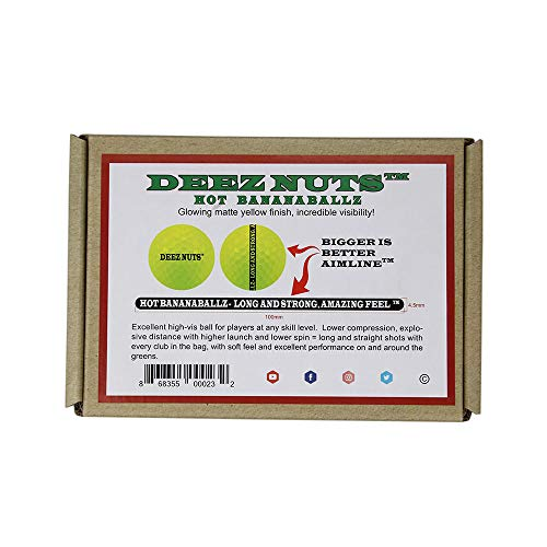 DEEZ NUTS HOT BANANABALLZ Matte Yellow Ball - Explosive Distance, Low Spin, Outstanding Solid Feel, and Perfect Alignment Using Our Bold aimline - an Exceptional Ball at a