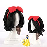 Halloween Women Snow White Princess cosplay Wig Stage Role Play black wavy hair with red bowknot hairband