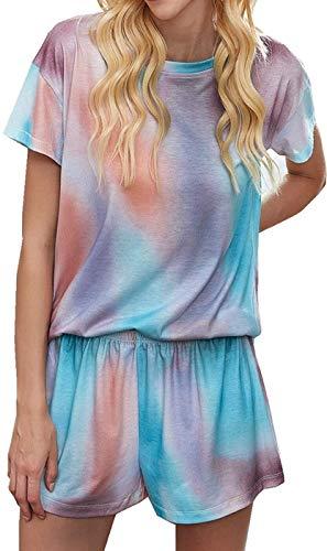 Logo COTOONLINE pijama para mujer, con estampado de teñido, manga corta y pantalones, A-multicolor., X-Large