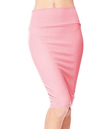 Urban CoCo Women's High Waist Stretch Bodycon Pencil Skirt (L, Pink)
