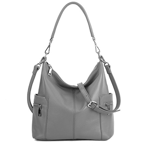 Handtasche Damen Echtleder YALUXE Umhängetasche mit Mehreren Taschen und mittlerer Grau