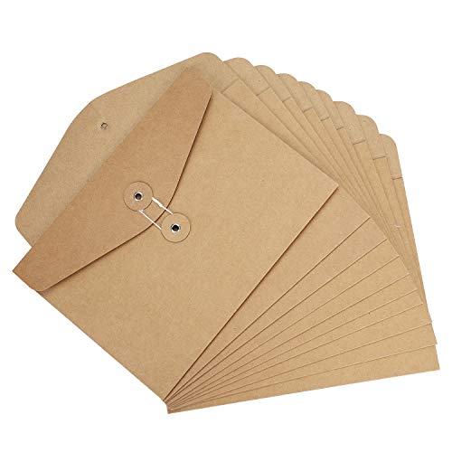 10 sobres de papel kraft grueso de color marrón oscuro tamaño A5/C5 para carpetas archivadoras. Sobres de papel reciclado con cordel para invitaciones hechas a mano, cartas u oficina, color negro