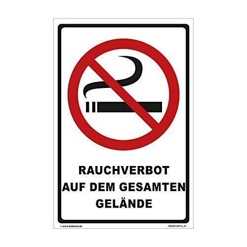 kleberio® Rauchen verboten Schild Kunststoff - Rauchverbot auf dem gesamten Gelände - 30 x 20 cm Nicht Rauchen Schild Rauchverbotsschilder Hinweisschilder Verbot Rauchen verboten no Smoking
