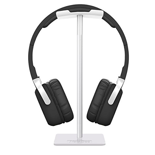 Headphone Stand Headset Holder New Bee Earphone Stand with Aluminum Supporting Bar Flexible Headrest ABS Solid Base for All Headphones Size (Silver)