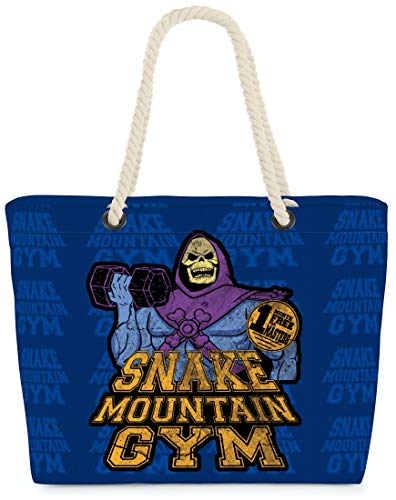 VOID XXL Strandtas Snake Mountain Gym Shoppertas 60 x 38 x16 cm 36L beach bag, Kissen Farbe:Blauw