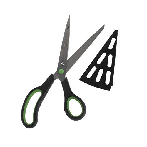 LIZHILIAN 2 en 1 tijeras cortador de pizza cortador servidor bandeja herramienta Cook Gadget acero inoxidable
