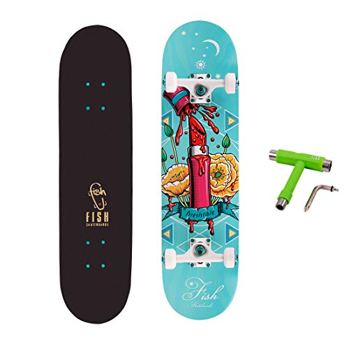 FISH SKATEBOARDS Standard Skateboard, Complete Skateboard 31''x 8'', 7 Layer Canadian Maple Double Kick Deck Concave Cruiser Trick Skateboards for Kids Boys Girls Youths Beginners.