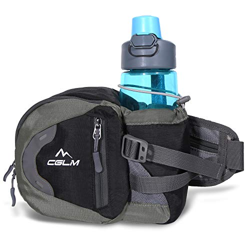 cglm Fanny Pack Waist Bag for Men Women Water Bottle Holder Adjustable Belt for Hiking Travel Outdoor Walking Running Carry iPhone Money Black