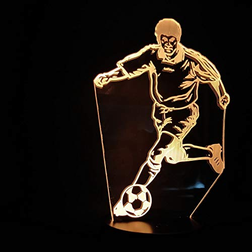 3D Table Lamp The Playing Soccer Football Sports Best Present Fans Bedroom Decor Bright Base Table Lamp