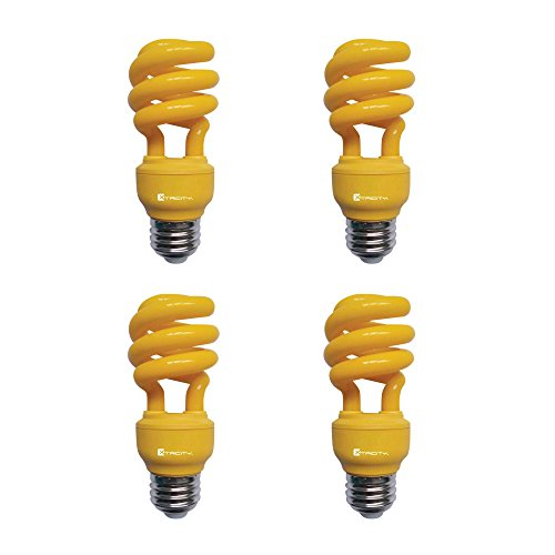 13W Yellow CFL Spiral Bug Light Bulb, 60W Equivalent, Outdoor, E26 Medium Base, 120V, UL Listed (Pack of 4)