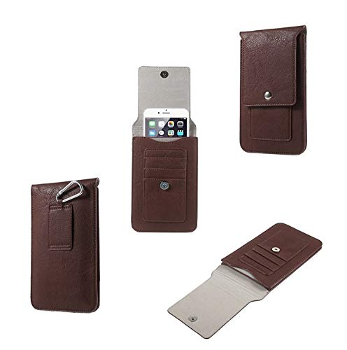 DFV mobile - Belt Case Cover Premium Synthetic Leather Vertical And Card Slots for LG Q Stylus (2018) - Brown