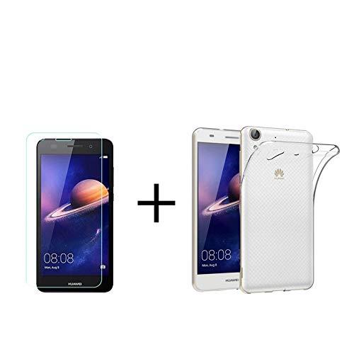 MB Accesorios Pack Protector Cristal Templado Transparente + Funda Transparente Huawei Y6 II/Honor 5A