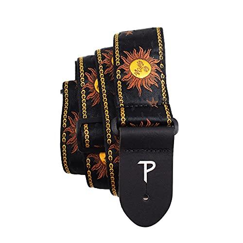 Perri's Leathers Ltd. - Correa de guitarra - Nylon - Jacquard - Hello Sunshine - Negro - Ajustable - Para guitarras acústicas/bajas/eléctricas - Fabricada en Canadá (TWS-7008)