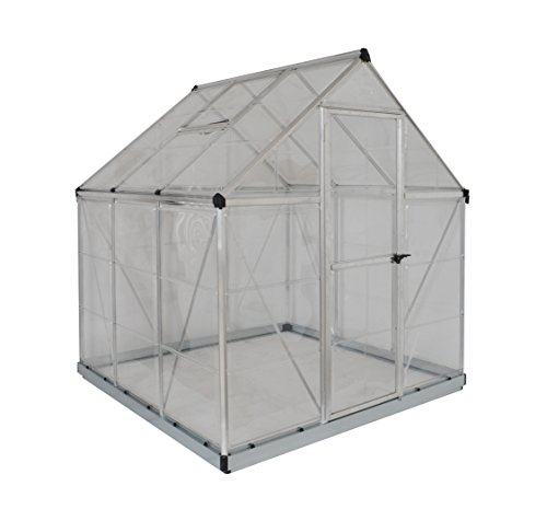 Palram Harmony 6x6 Silver Greenhouse - Clear Polycarbonate, Aluminum Frame, Base Included