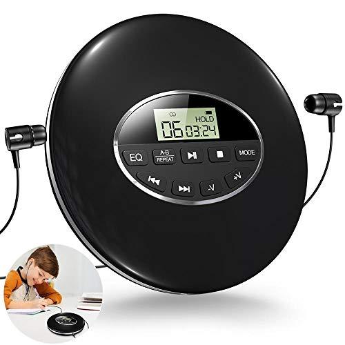 Rodada estilo portátil CD player fone de ouvido HiFi música reprodutor cd walkman descapelo jogador à prova de choque lectreur cd com cabo aux. (Color : Black)