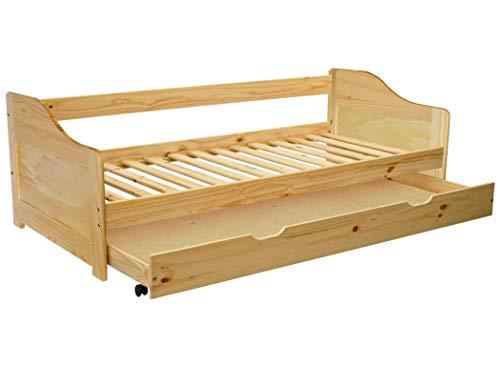 KMH®, Ausziehbett/Jugendbett/Kinderbett/Kojenbett mit ausziehbarem Bettkasten, incl. Lattenrost (200 x 90 cm/Natur) (#201100)