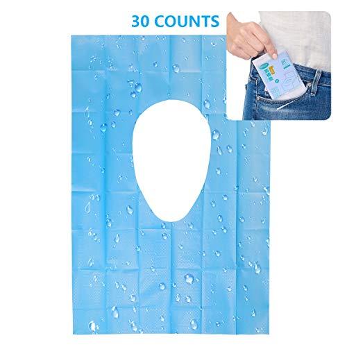Einweg-Toilettensitzbezüge, wasserdicht, Reise-Papier, antibakteriell, einzeln verpackt, rutschfest, für öffentliche Toiletten, 3 Packungen, 30 Stück (Verlängerte Größe - 40x60 cm)