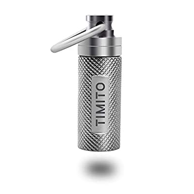 Titan Pillendose Pillenbehälter(Anhänger)-Haltung von Notfall Pillen & Nitroglycerin Tablettenbox für Mann und Frau-Wasserdicht, Leichtes Gewicht und nicht allergen, Schlüsselanhänger